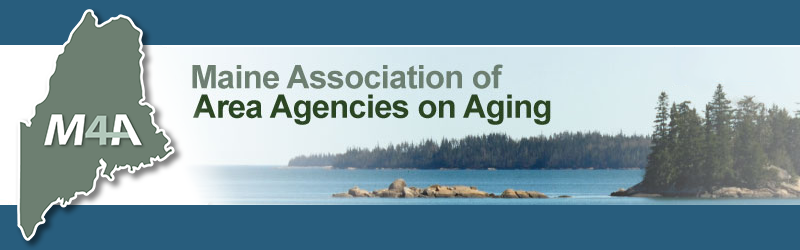 "M4A logo with text ""Maine Association of Area Agencies on Aging"""