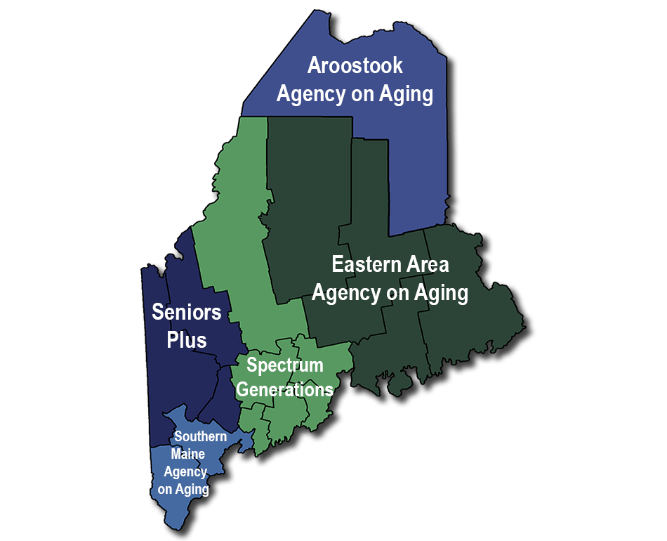 map of maine visually showing agency coverage. List of counties served below in page text.